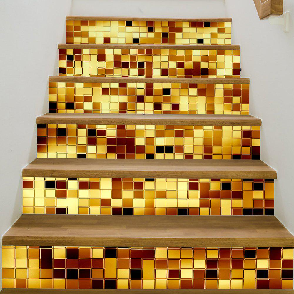 Gold Mosaic Style Stair Sticker Wall DecorHOME<br><br>Size: 18 X 100CM X 6 PIECES; Color: MIX COLOR;