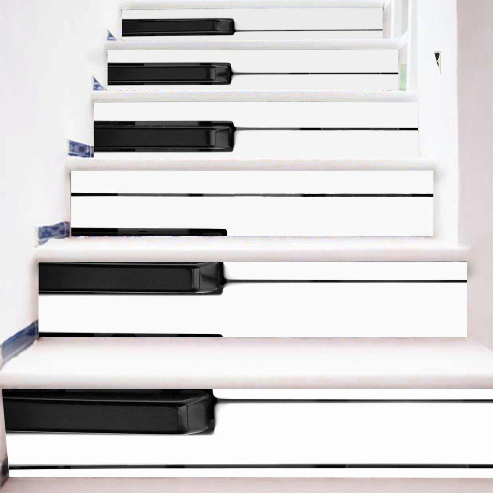 Piano Keys Style Stair Sticker Wall DecorHOME<br><br>Size: 18 X 100CM X 6 PIECES; Color: MIXED COLOR;