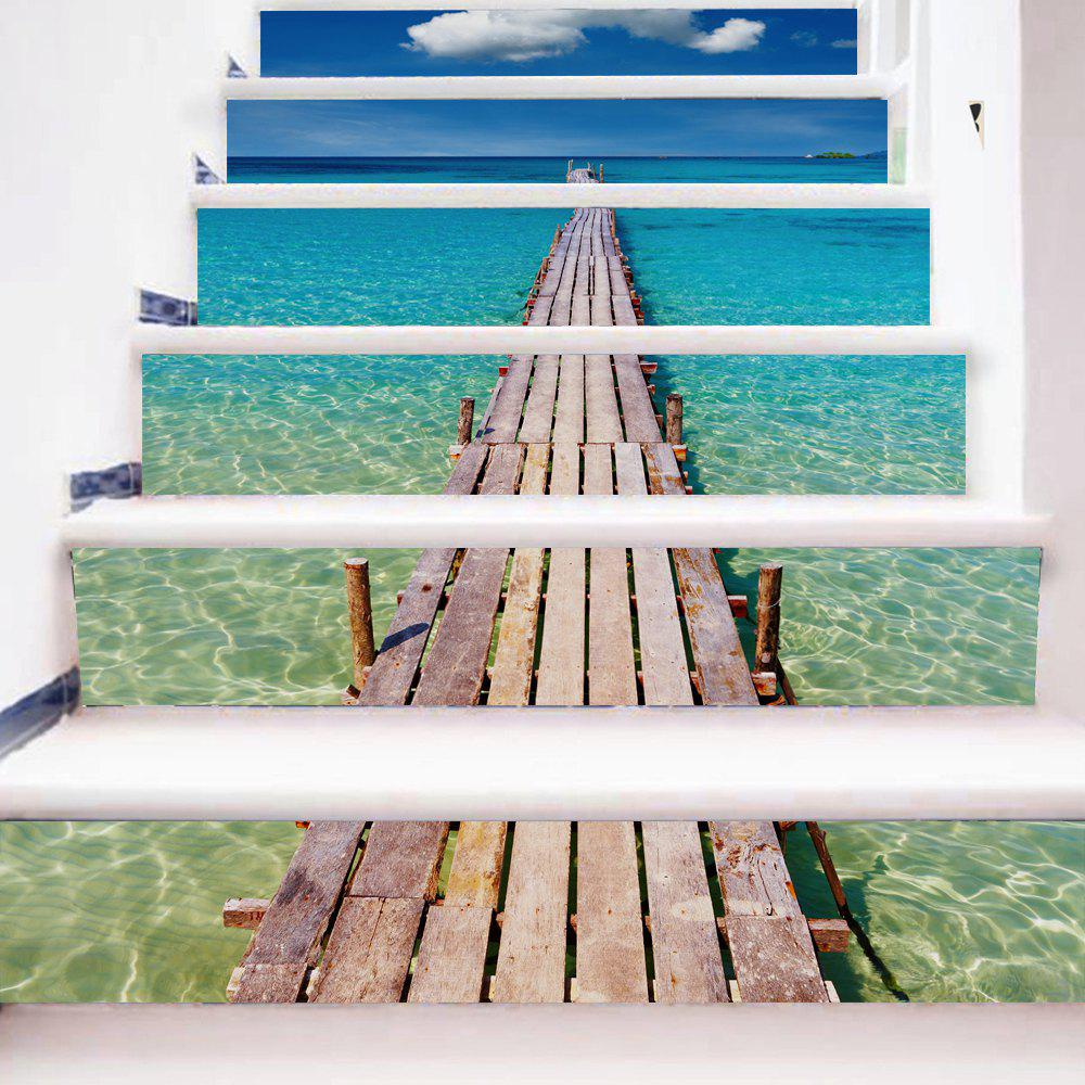 Beach Style Stair Sticker Wall DecorHOME<br><br>Size: 18 X 100CM X 6 PIECES; Color: MIX COLOR;
