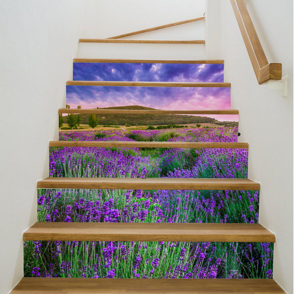 Lavender Style Stair Sticker Wall DecorHOME<br><br>Size: 18 X 100CM X 6 PIECES; Color: MIX COLOR;