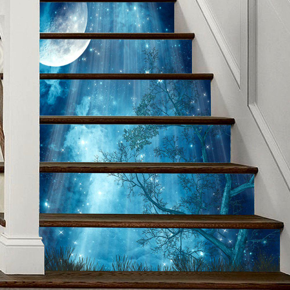 Moon Forest Stair Sticker Wall DecorHOME<br><br>Size: 18 X 100CM X 6 PIECES; Color: MIXED COLOR;