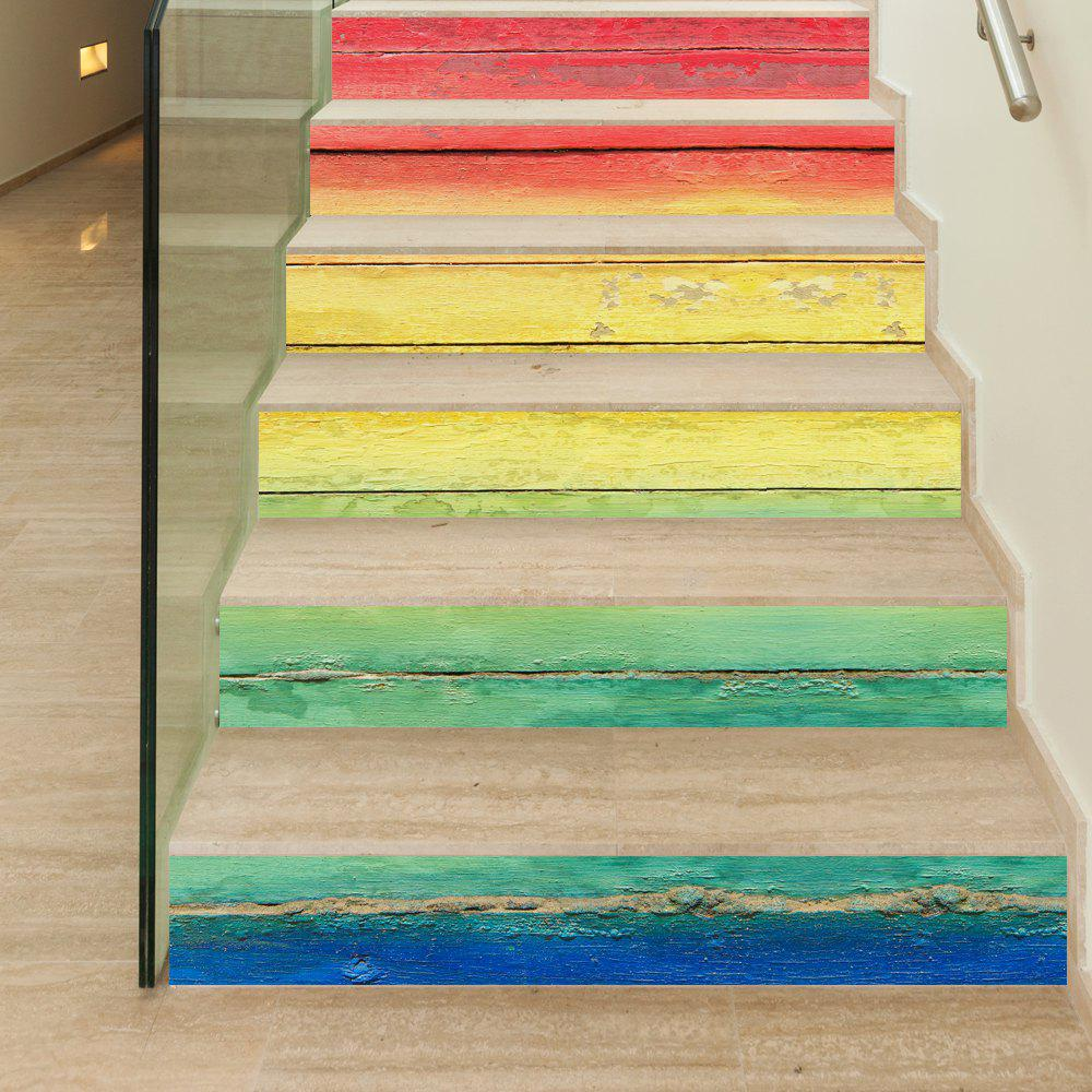 Rainbow Wooden Style Stair Sticker Wall DecorHOME<br><br>Size: 18 X 100CM X 6 PIECES; Color: MIX COLOR;