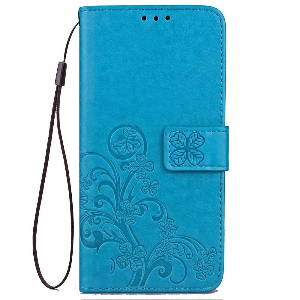 Unique Yc Lucky Clover Holster Leaf Card Lanyard Pu Leather for Red Mi