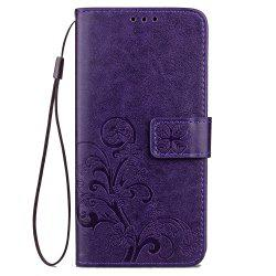 Yc Lucky Clover Holster Leaf Card Lanyard Pu Leather for Samsung A3 -