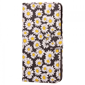 Yc Chrysanthemum Painting Double Card Lanyard Pu Leather for Samsung S8 -