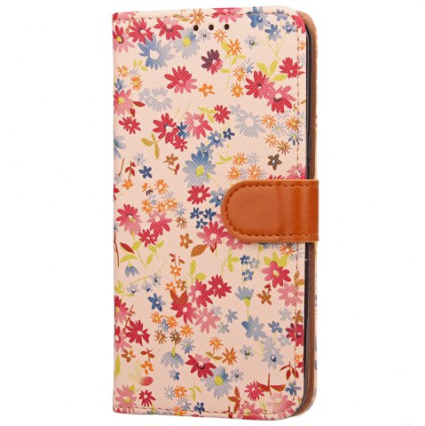 Latest Yc Small Floral Paint Three Card Lanyard Pu Leather for Samsung S8 Plus