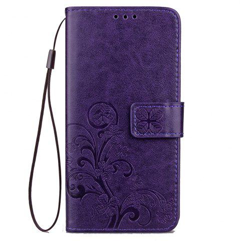 Trendy Yc Lucky Clover Holster Leaf Card Lanyard Pu Leather for Samsung A7