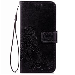 Yc Lucky Clover Holster Leaf Card Lanyard Pu Leather for Samsung A310 -
