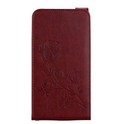 Embossed Rose Flower Pattern Vertical Flip Leather Case with Card Slot for Samsung Galaxy J3 2016 J310 -