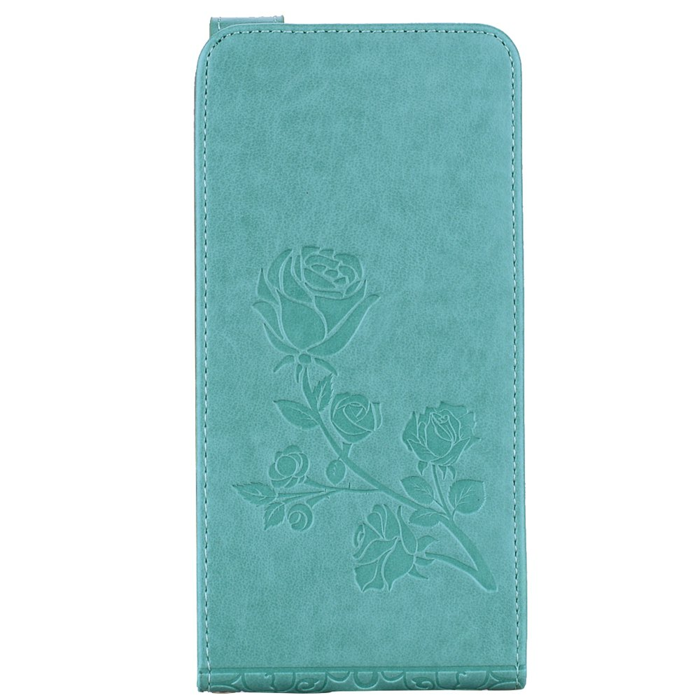 Hot Embossed Rose Flower Pattern Vertical Flip Leather Case with Card Slot for Huawei P8 Lite 2017