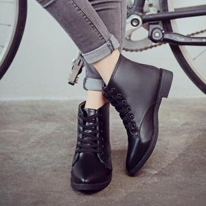 Solid Color Lace-Up Flat Ankle Boots - BLACK 40
