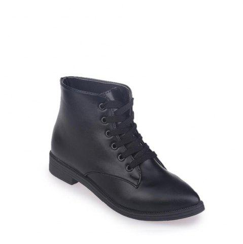 Affordable Solid Color Lace-Up Flat Ankle Boots BLACK 40