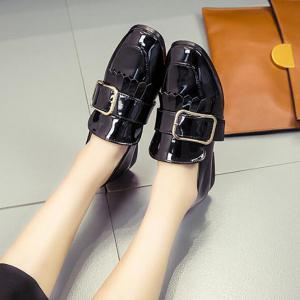 Retro Buckle Tassels Flat Shoes - BLACK 38