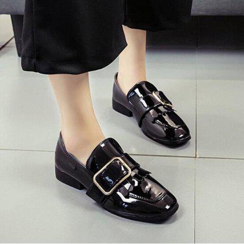 Discount Retro Buckle Tassels Flat Shoes - 35 BLACK Mobile