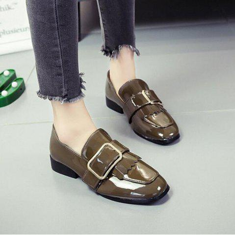 Store Retro Buckle Tassels Flat Shoes - 39 KHAKI Mobile