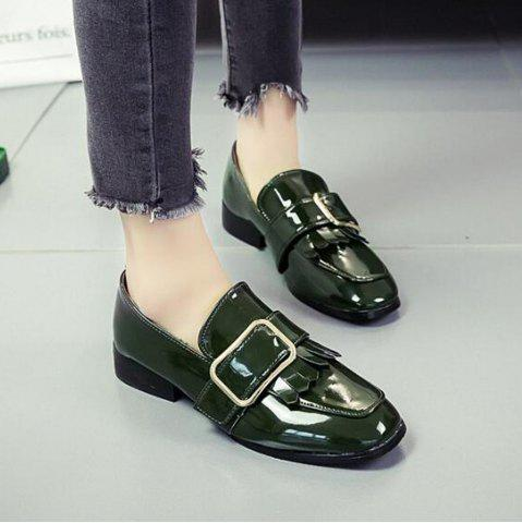 Store Retro Buckle Tassels Flat Shoes FERN 38