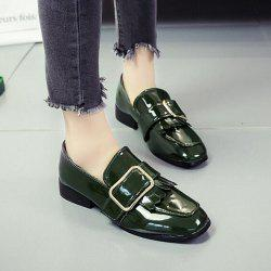 Retro Buckle Tassels Flat Shoes - FERN 38