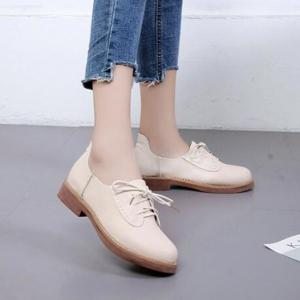 Solid Color Lace-Up  Flat Oxford Shoes -