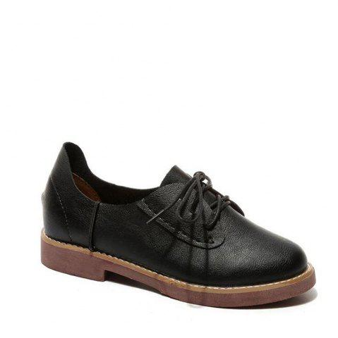 Best Solid Color Lace-Up  Flat Oxford Shoes - 39 BLACK Mobile