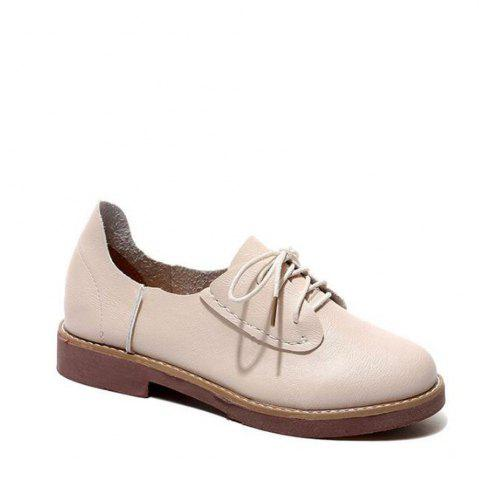 Trendy Solid Color Lace-Up  Flat Oxford Shoes