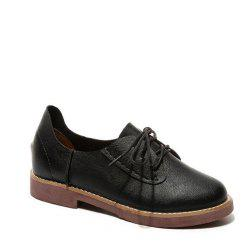 Solid Color Lace-Up  Flat Oxford Shoes - BLACK 36