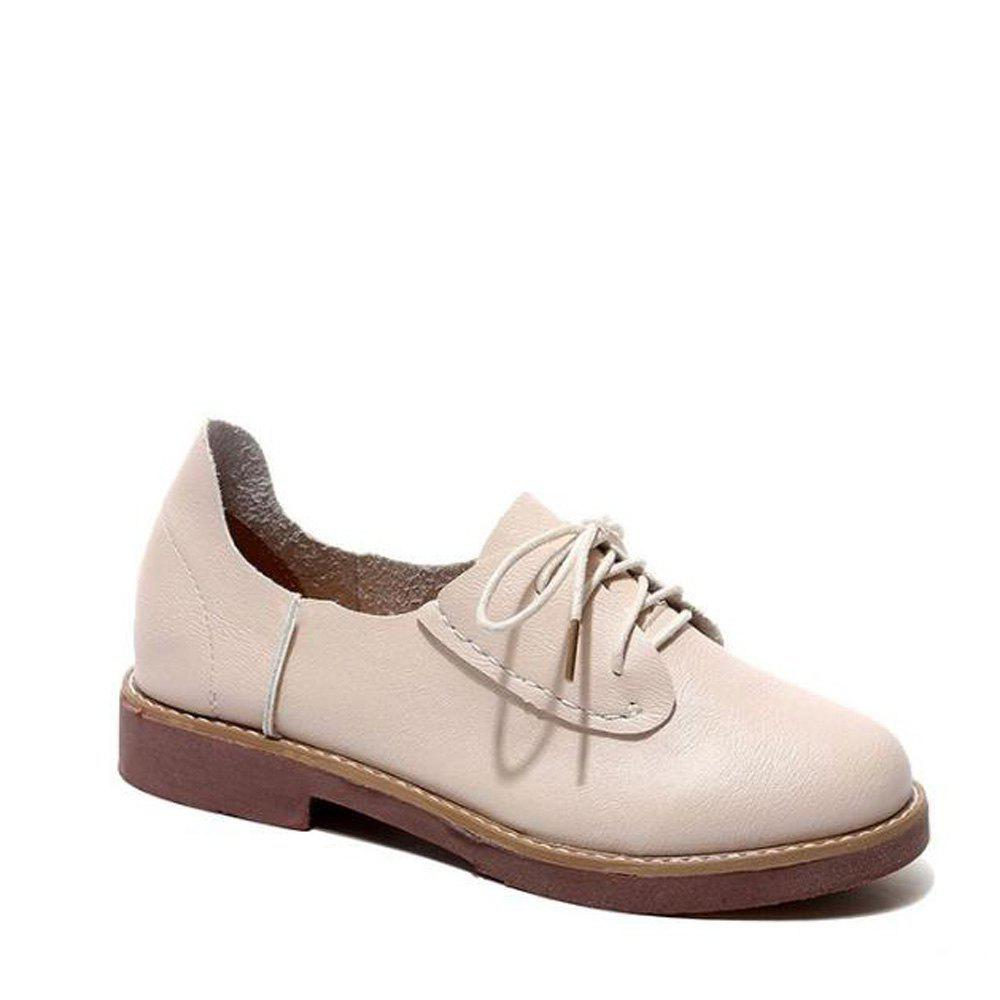 Fancy Solid Color Lace-Up  Flat Oxford Shoes
