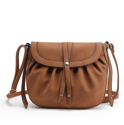 Shop Ruffle Rivets Crosbody Saddle Bags