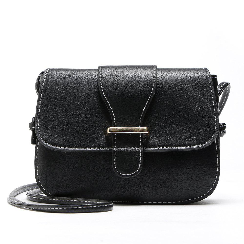 Solid Color Buckle Crossbody BagsSHOES &amp; BAGS<br><br>Size: 1PC; Color: BLACK; Handbag Type: Crossbody bag; Style: Vintage; Gender: For Women; Embellishment: Button; Pattern Type: Solid; Handbag Size: Mini(&lt;20cm); Closure Type: Zipper &amp; Hasp; Interior: Interior Zipper Pocket; Occasion: Versatile; Main Material: PU; With Pendant: No; Hardness: Soft; Strap Length: 135cm;