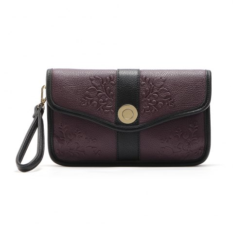 Latest Color Block Embossed Clutch Bag - 1PC PURPLES Mobile