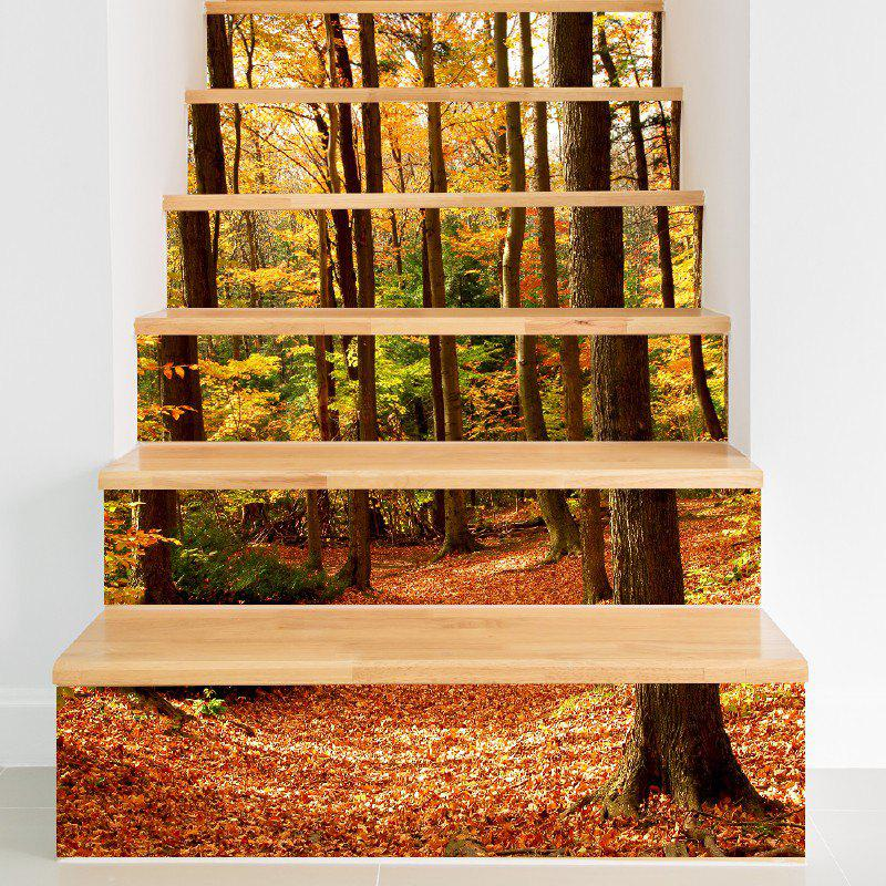 Fall Forest Style Stair Sticker Wall DecorHOME<br><br>Size: 18 X 100CM X 6 PIECES; Color: MIX COLOR;