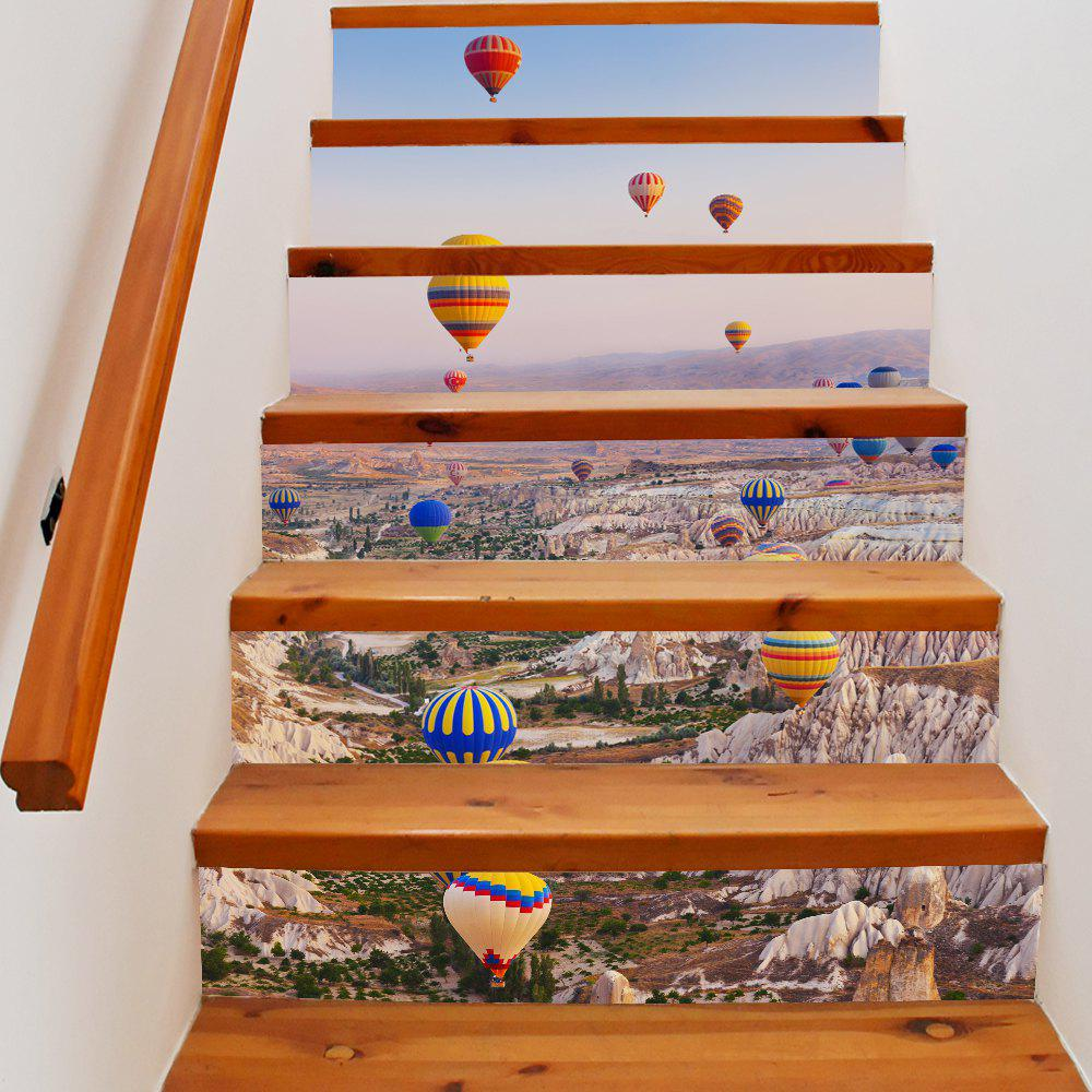 Hot Air Balloon Style Stair Sticker Wall DecorHOME<br><br>Size: 18 X 100CM X 6 PIECES; Color: MIX COLOR;