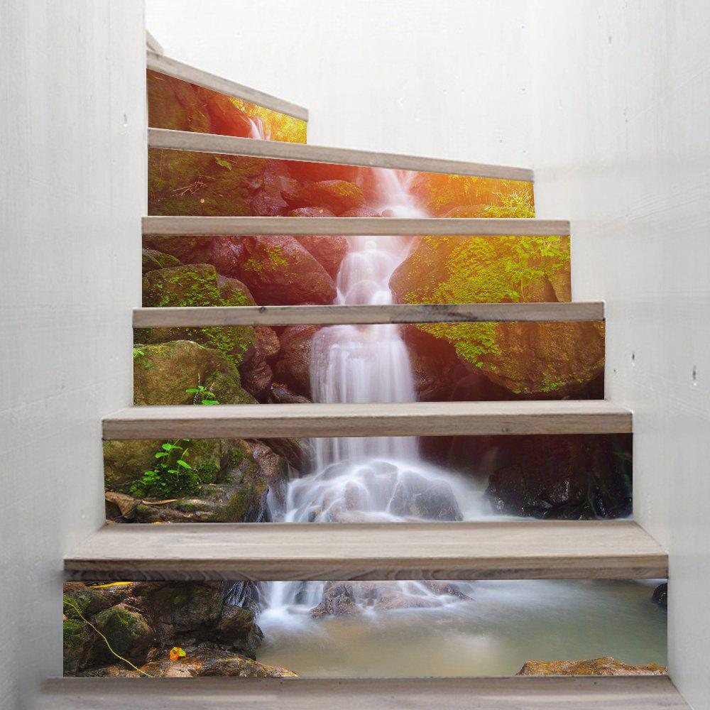 Waterfall Style Stair Sticker Wall DecorHOME<br><br>Size: 18 X 100CM X 6 PIECES; Color: MIXED COLOR;