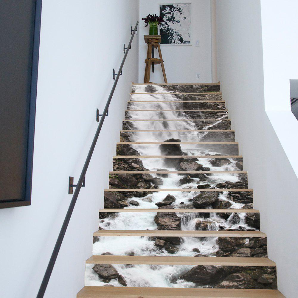 Waterfall Style 13 Pieces Stair Sticker Wall DecorHOME<br><br>Size: 18 X 100CM X 13 PIECES; Color: MIXED COLOR;