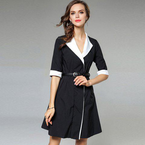 Trendy Black And White Stitching Dress Coat BLACK S