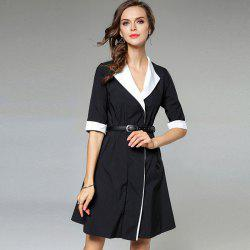 Black And White Stitching Dress Coat - BLACK S