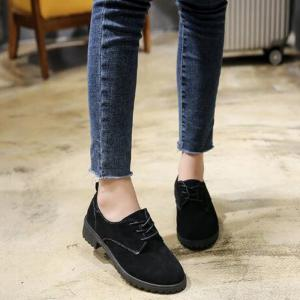 Solid Color Lace-Up Round Head Flat Shoes - BLACK 37