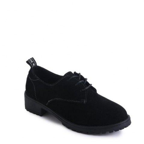 New Solid Color Lace-Up Round Head Flat Shoes BLACK 37