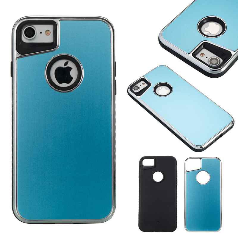 New Two-In-One Tpu + Aluminum Alloy Plating Scrub Phone Case for Iphone 7 Iphone 8