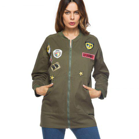 Trendy Long Female Jacket - XL ARMY GREEN Mobile