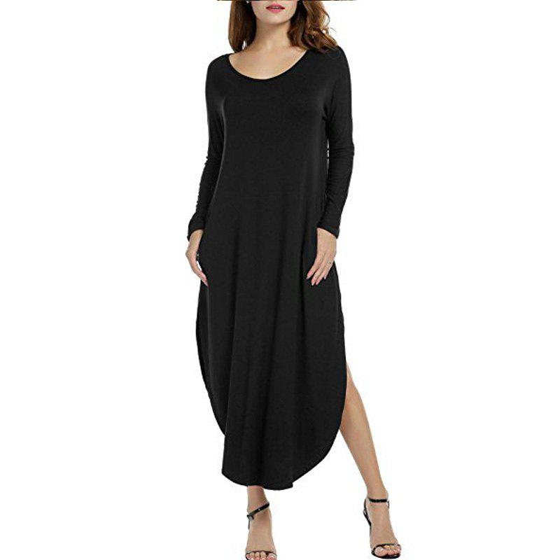 Discount Long Sleeves Round Neck Dress