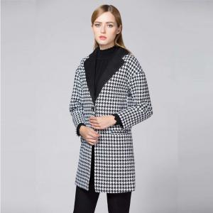 Suit Woolen Houndstooth Blazer - BLACK AND WHITE JACQUARD S