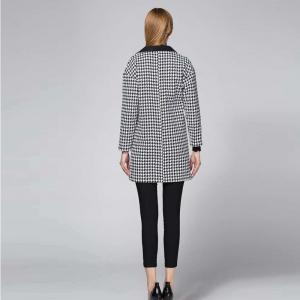 Suit Woolen Houndstooth Blazer - BLACK AND WHITE JACQUARD M