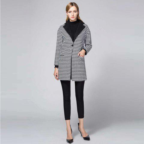 Best Suit Woolen Houndstooth Blazer BLACK AND WHITE JACQUARD M