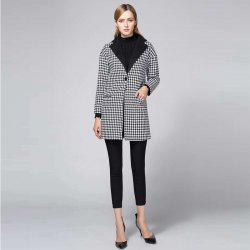 Suit Woolen Houndstooth Blazer - BLACK AND WHITE JACQUARD L