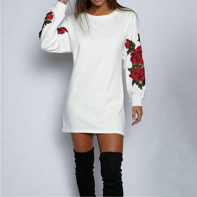 Ladies Floral Long Sleeve SweatshirtWOMEN<br><br>Size: M; Color: WHITE; Material: Cotton,Polyester; Fabric Type: Cotton and kapok hemp; Shirt Length: Long; Sleeve Length: Full; Collar: Round Neck; Style: Fashion; Pattern Type: Patchwork; Elasticity: Micro-elastic; Weight: 0.2500kg; Package Contents: 1 x Sweatshirt;