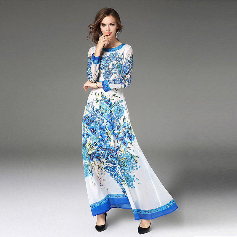 Fashion Slim DressWOMEN<br><br>Size: L; Color: MAJESTIC; Style: Bohemian; Material: Polyester; Fabric Type: Chiffon; Silhouette: A-Line; Dresses Length: Ankle-Length; Neckline: Round Collar; Sleeve Length: Long Sleeves; Waist: Natural; Pattern Type: Print; Elasticity: Nonelastic; With Belt: No; Season: Fall,Spring,Winter; Weight: 0.4200kg; Package Contents: 1 x Dress;