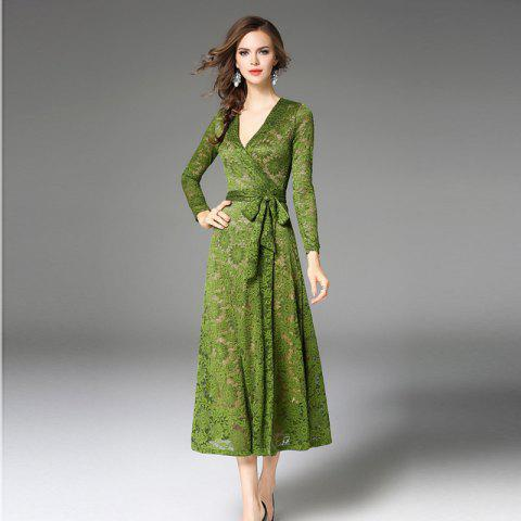 Shop New Green V Long Sleeves Long Lace Dress