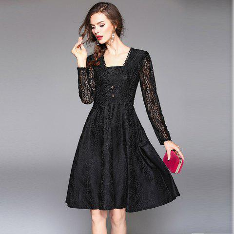 Fashion Square Neck Long Sleeves Lace Dress - XL BLACK Mobile