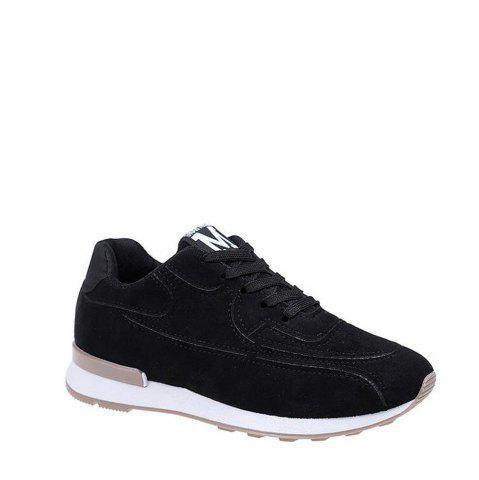 Sale Solid Color Lace-Up Sport Shoes - 35 BLACK Mobile