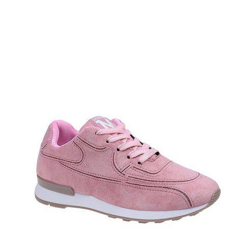 Buy Solid Color Lace-Up Sport Shoes